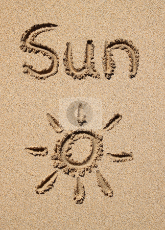 The word sun and a sun symbol drawn on a beach. stock photo, The word sun and a sun symbol drawn on a beach. by Stephen Rees