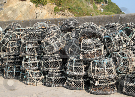 Lots of lobster pots in Cornwall, UK stock photo, Lots of lobster pots in Cornwall, UK by Stephen Rees
