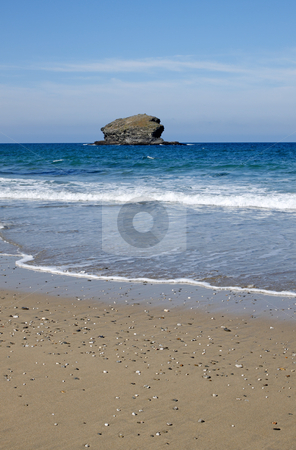Gull rock and Portreath beach in Cornwall UK. stock photo, Gull rock and Portreath beach in Cornwall UK. by Stephen Rees