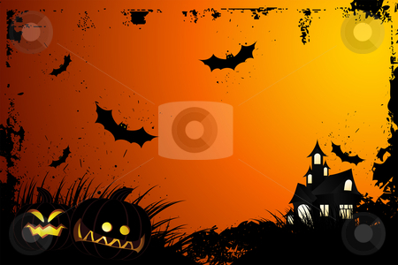 Halloween grunge background stock vector clipart, Halloween grunge background with grass bat and hunting house by Vadym Nechyporenko