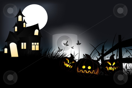 Halloween night stock vector clipart, Halloween night with pumpkin in grass and moon in background by Vadym Nechyporenko