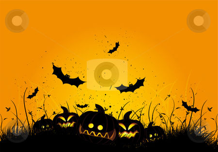 Halloween grunge background stock vector clipart, Halloween black and orange background with grass and bat by Vadym Nechyporenko