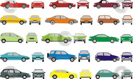 Color Cars stock vector clipart, Set icons - Color silhouettes of cars, vector shapes design by Čerešňák