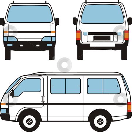 Minivan Car, Vector Shapes stock vector clipart, White minivan car, vector black lines over white background by Čerešňák