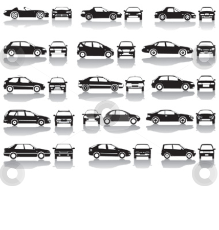 Black Set Of Cars Vector stock vector clipart, Set icons - Black silhouettes of cars, vector shapes design by Čerešňák