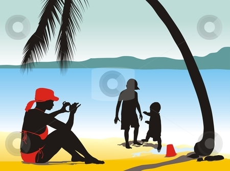 Photo On The Beach stock vector clipart, Vector illustration summer being on the beach by Čerešňák