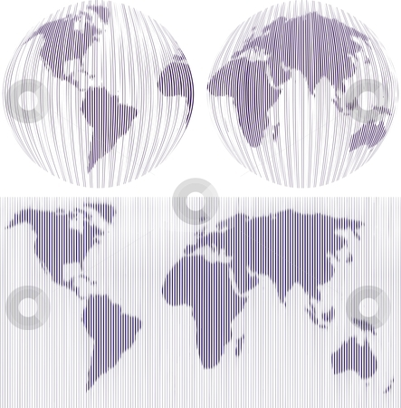 World Maps stock vector clipart, Map and Globe of the World, vector illustration by Čerešňák