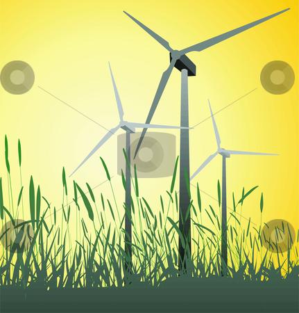 Wind Turbine stock vector clipart, Progressive alternative green power source vector illustration by Čerešňák