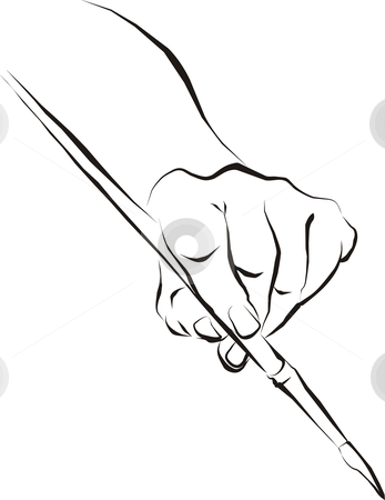Hand-painting Brush stock vector clipart, Vector drawing hand with the artistic brush by Čerešňák