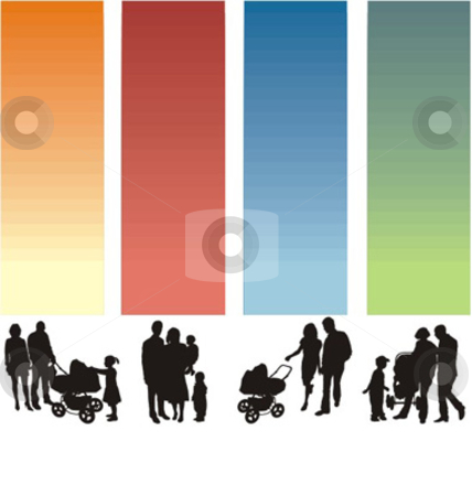 Silhouette Family stock vector clipart, A simple silhouette of a group of people parents and their children by Čerešňák