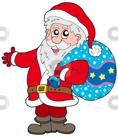 Santa Claus with more gifts stock vector clipart, Santa Claus with more gifts - vector illustration. by Klara Viskova