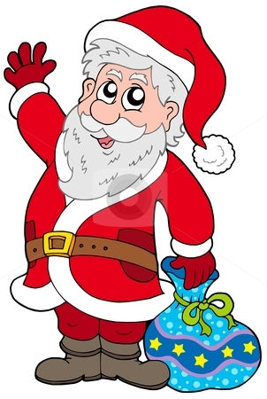 Cute Santa Claus with gifts stock vector clipart, Cute Santa Claus with gifts - vector illustration. by Klara Viskova