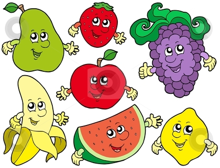 Cartoon fruits collection 2 stock vector clipart, Cartoon fruits collection 2 - vector illustration. by Klara Viskova