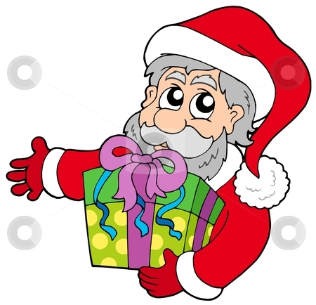 Santa Claus holding gift stock vector clipart, Santa Claus holding gift - vector illustration. by Klara Viskova