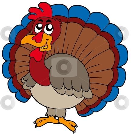 Cartoon turkey stock vector clipart, Cartoon turkey on white background - vector illustration. by Klara Viskova