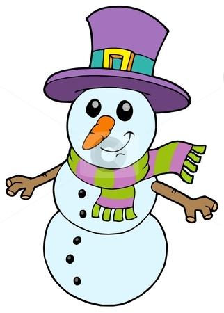 Cute cartoon snowman stock vector clipart, Cute cartoon snowman - vector illustration. by Klara Viskova