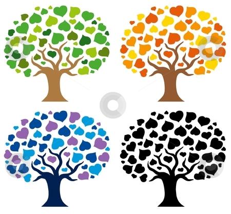 Various trees silhouettes stock vector clipart, Various trees silhouettes - vector illustration. by Klara Viskova