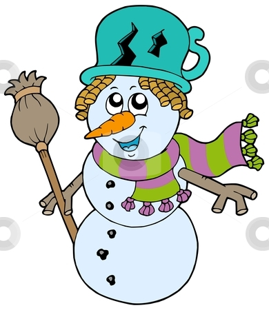 Cute snowman with scarf and broom stock vector clipart, Cute snowman with scarf and broom - vector illustration. by Klara Viskova