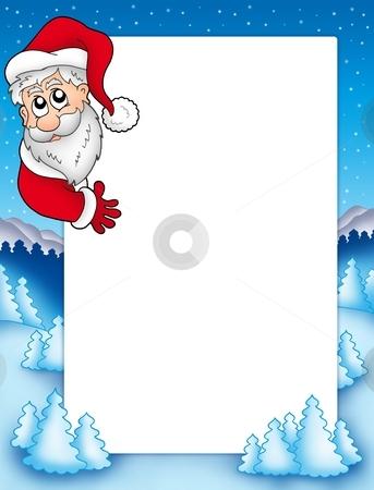 Frame with lurking Santa Claus 2 stock photo, Frame with lurking Santa Claus 2 - color illustration. by Klara Viskova