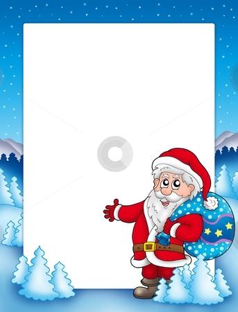 Christmas frame with Santa Claus 1 stock photo, Christmas frame with Santa Claus 1 - color illustration. by Klara Viskova