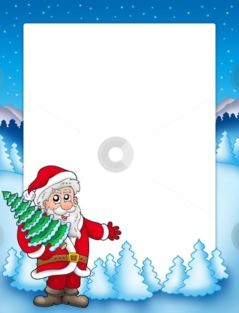 Christmas frame with Santa Claus 4 stock photo, Christmas frame with Santa Claus 4 - color illustration. by Klara Viskova