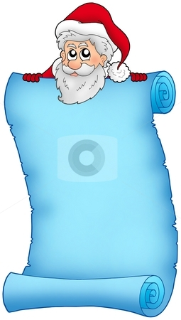 Christmas blue scroll with Santa 2 stock photo, Christmas blue scroll with Santa 2 - color illustration. by Klara Viskova