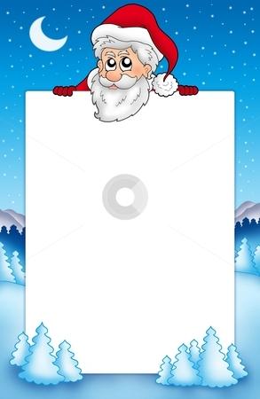 Frame with lurking Santa Claus 1 stock photo, Frame with lurking Santa Claus 1 - color illustration. by Klara Viskova
