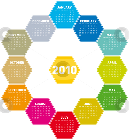 Calendar 2010 stock vector clipart, Calendar for year 2010 in an hexagonal pattern (vector format) by Germán Ariel Berra