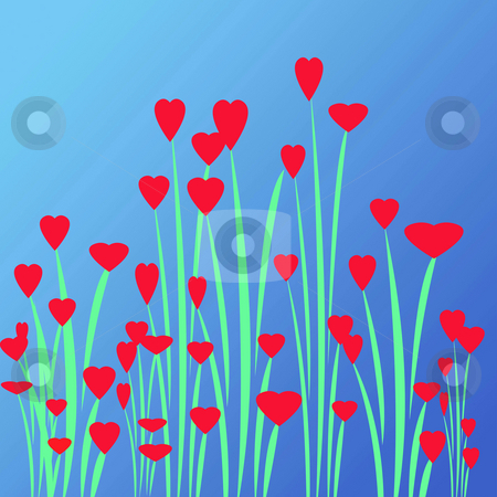 Love Flower Garden stock photo, Great for valentines day card a heart filled garden of love by CHERYL LAFOND