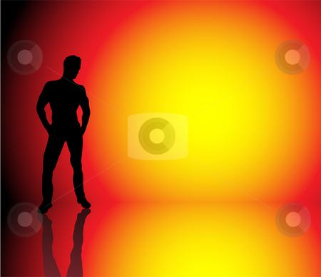 Boy Sun Background stock vector clipart, Silhouette of muscle boy on beautiful hot background by Augusto Cabral Graphiste Rennes