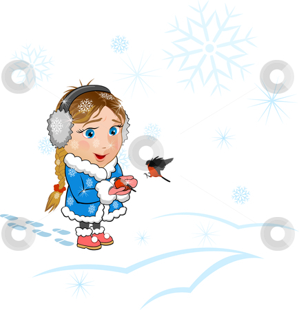 Little girl with a bullfinches on hands stock vector clipart, The little girl carries a bullfinch and warms the frozen bird. Elements are layered separately. by Paul Malyugin