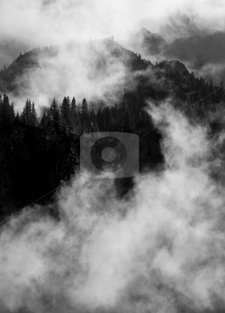 Tatoosh Emerging stock photo, Peaks and Ridges of the Tatoosh Range poke through low clouds backlight by late afternoon sun by Mike Dawson
