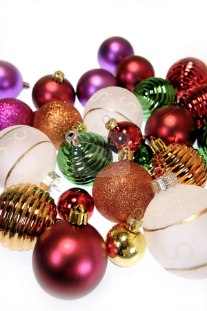 Baubles stock photo, Closeup of colorful baubles by Les Cunliffe