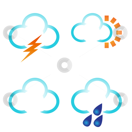 Weather symbols collection stock vector clipart, Weather symbols collection by Sadik Saidov