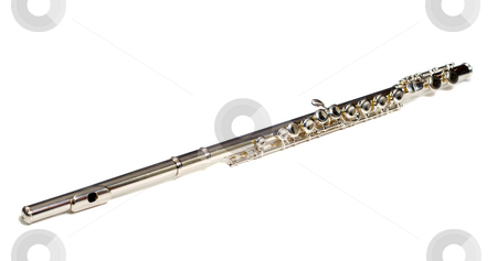 Isolated Flute stock photo, A metal flute commonly used for school, isolated against a white background by Richard Nelson
