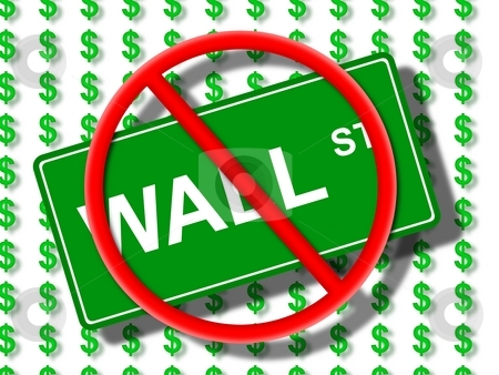 Wall Street No stock photo, Green wall street sign in front of dollar icons. by Henrik Lehnerer