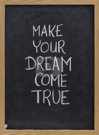 Make your dream come true stock photo, Make your dream come true - motivational slogan handwritten with white chalk on blackboard by Marek Uliasz
