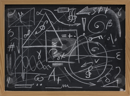 Chaos or information overload concept stock photo, Random lines, geometrical shapes, symbols on a blackboard - chaos, mess or information overload concept by Marek Uliasz