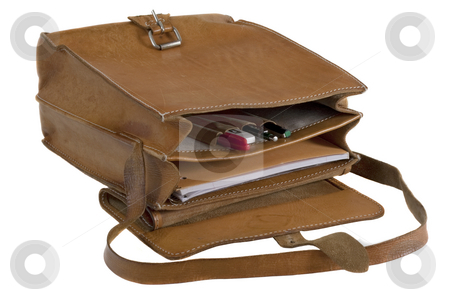 Old leather school bag stock photo, Old leather school bag with scratches and stains - opened showing pens and notebook, isolated on white by Marek Uliasz