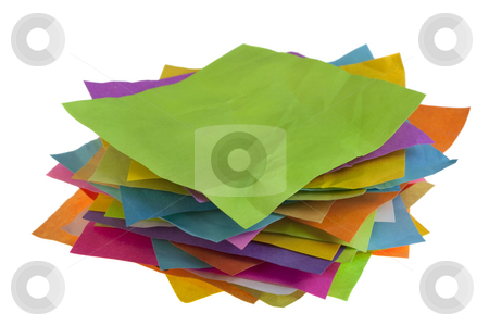 Stack of colorful paper notes stock photo, Stack of colorful blank crumpled sticky notes isolated on white by Marek Uliasz