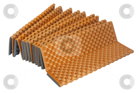 Lightweight closed-cell foam sleeping pad stock photo, Lightweight foam sleeping pad for backpacking and climbing, folding accordion style with egg-carton pattern, isolated on white by Marek Uliasz