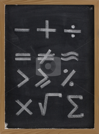 Equation shapes - mathematical symbols on blackboard stock photo, Equation shapes - mathematical symbols sketched with thick white chalk lines on blackboard with eraser smudges by Marek Uliasz