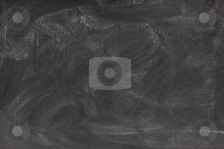 Blank chalkboard with eraser smudges stock photo, Blank blackboard with white chalk dust and strong smudge patterns by Marek Uliasz