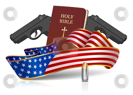 Guns and Hole Bible - American culture! stock vector clipart, That's what made America Great? God, guns and Country! All objects are layered separately. by Paul Malyugin