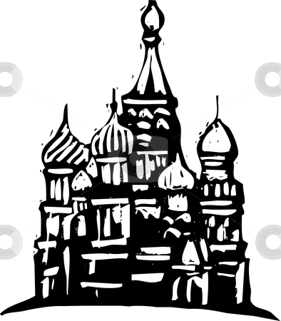 Kremlin Russia stock vector clipart, Black and White woodcut style illustration of the Kremlin in Moscow. by Jeffrey Thompson
