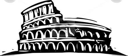 Rome Collusium stock vector clipart, Black and White woodcut style illustration of the Roman Coliseum. by Jeffrey Thompson