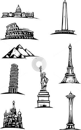 World Monument Spots stock vector clipart, Black and White woodcut style illustration of great world buildings. by Jeffrey Thompson