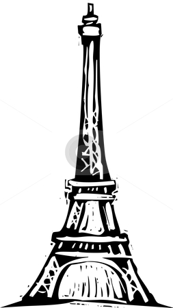 Eiffel Tower stock vector clipart, Black and White woodcut style illustration of the Eiffel Tower. by Jeffrey Thompson