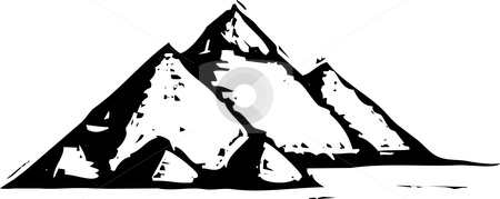 Egyptian Pyramids stock vector clipart, Black and White woodcut style illustration of the egyptian pyramids. by Jeffrey Thompson