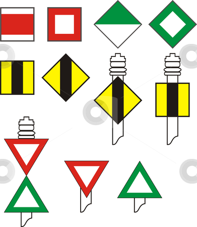 Signs River Navigation stock vector clipart, Signal codes, for river navigation, vector illustration by Čerešňák